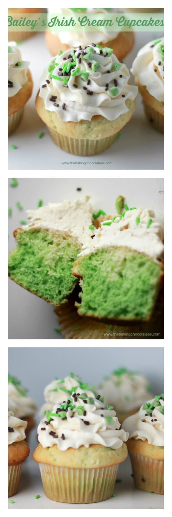 Bailey's Irish Cream Cupcakes! - Get lucky with these Bailey's Irish Cream infused cupcakes iced with a creamy delicious Bailey's Irish Cream Buttercream Frosting. YUM!! #baileys #irishcream #cupcakes #frosting #stpatricks #stuffed