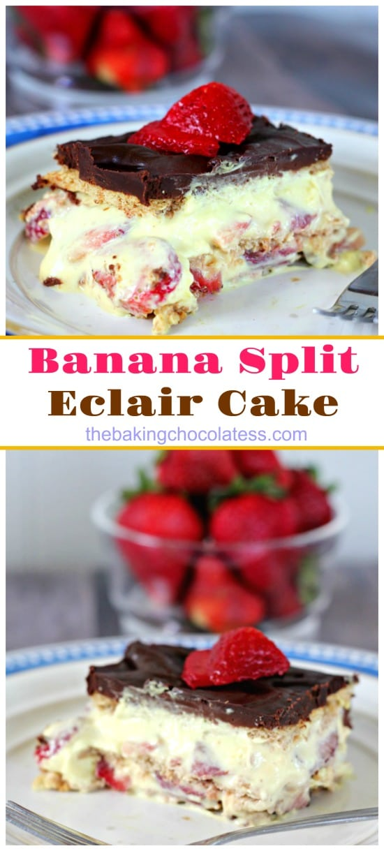 Banana Split Eclair Cake - Creamy banana pudding fluff, fresh strawberries, graham crackers and chocolate frosting make this eclair cake perfect for summer party fun!