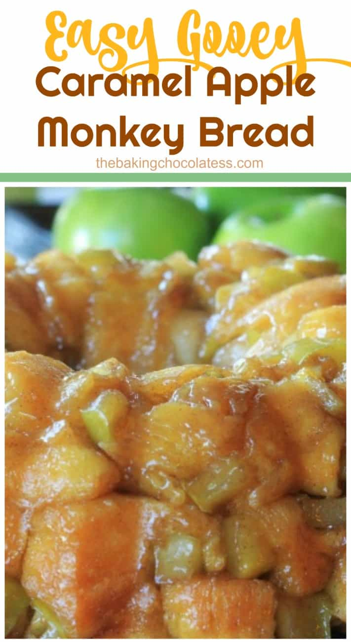 Easy Gooey Caramel Apple Monkey Pull Apart Bread - Gooey caramel sauce and baked apples are entertwined in this right-out-of the oven, warm, fluffy, amazing pull-a-part monkey bread. OMG!! #pillsbury @pillsbury #apple #caramel apple #monkey bread #breakfast