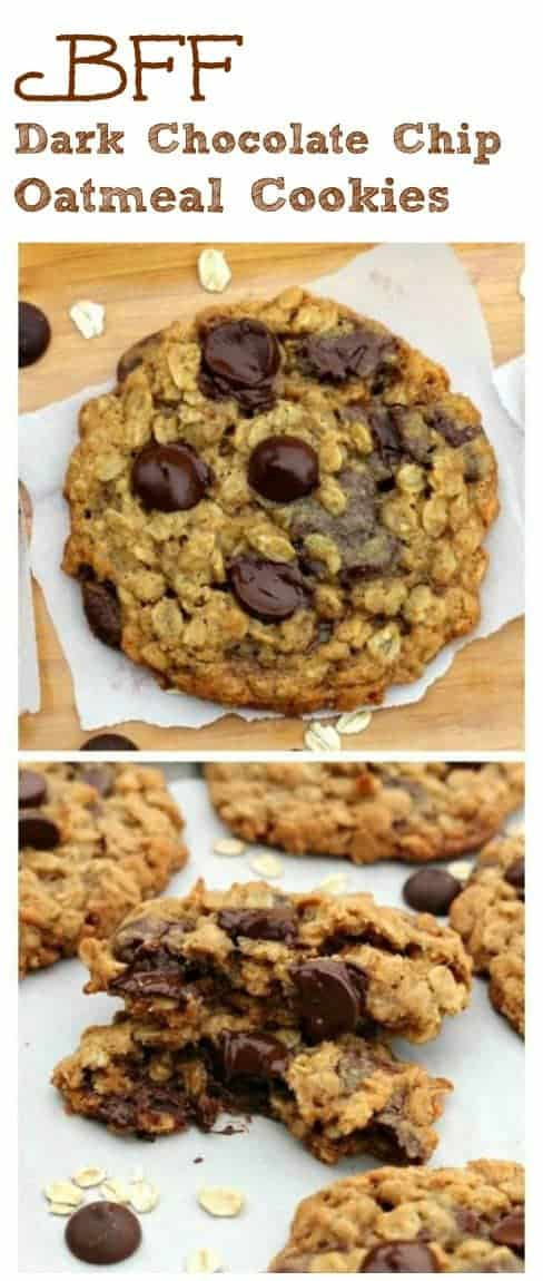 BFF Dark Chocolate Chip Oatmeal Cookies - Golden, old-fashioned soft and chewy oatmeal cookies loaded with dark chocolate chip love. Soo Good! They'll soon become your newest favorite BFFs!