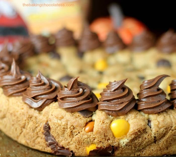 Boo-tterscotch M&M Chocolate Chip Cookie Cake