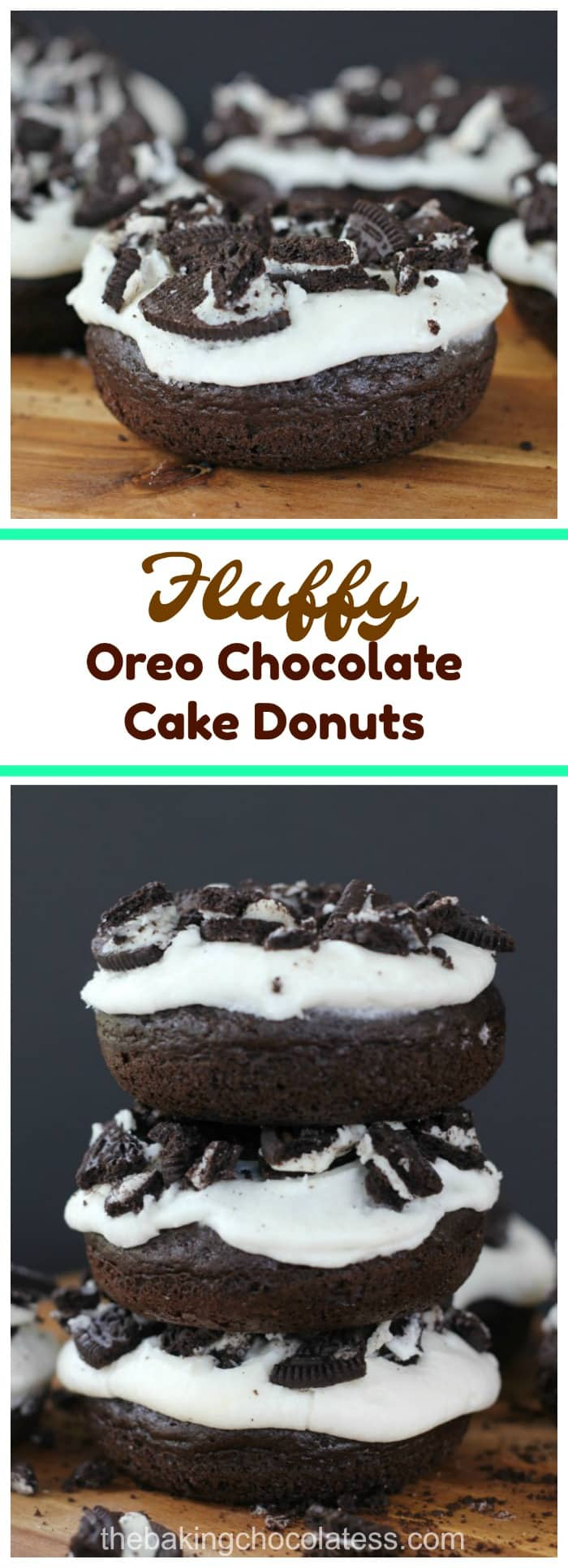 Fluffy Oreo Chocolate Cake Donuts - Moist and fluffy, addicting, melt-in-your mouth Oreo Vanilla Frosted Chocolate Cake Donuts are the way to go for a decadent, sweet rush of heavenly YUM!  Enjoy with your coffee or the old-school milk and cookie love!