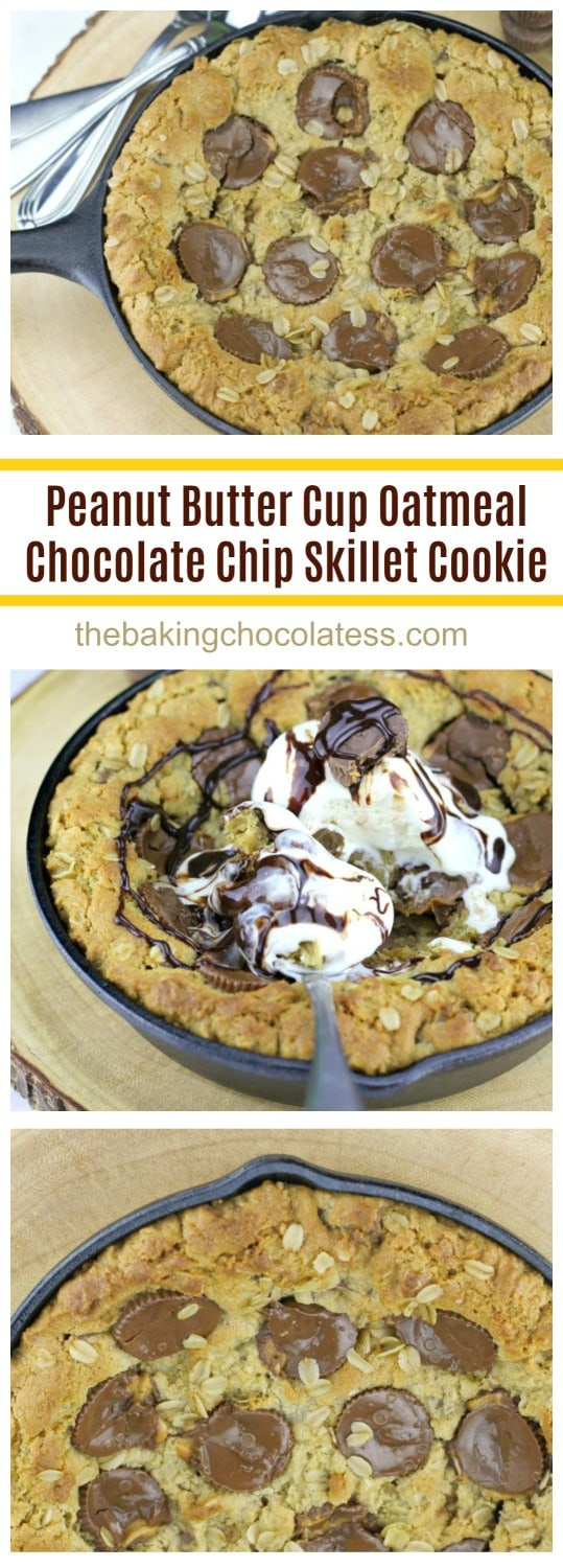 Peanut Butter Cup Oatmeal Chocolate Chip Skillet Cookie is baked to a golden brown and it's awesome served melty-warm right out of your cast-iron skillet. Wait till you taste this yummy, gooey peanut butter oatmeal cookie with chocolate chips and peanut butter cups!  To take it top level, bring on the creamy vanilla ice cream and some chocolate syrup!