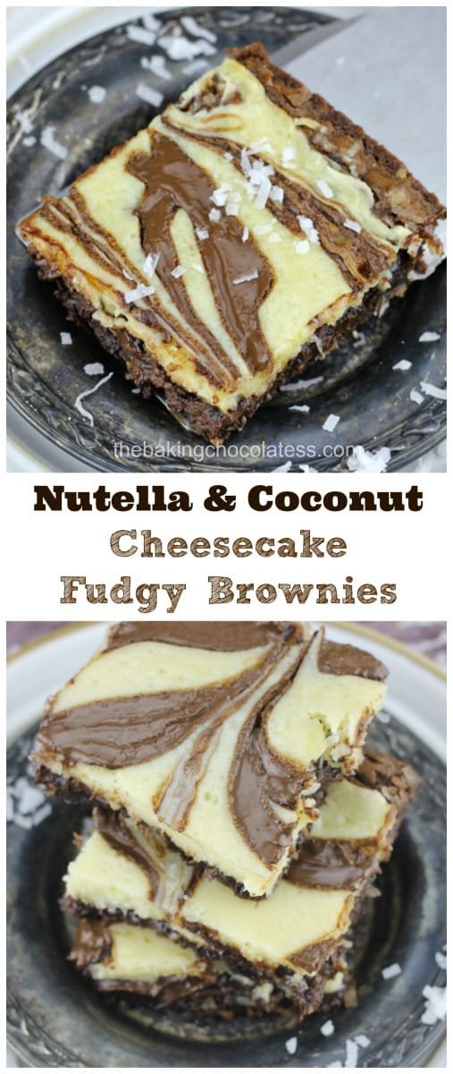 Nutella & Coconut Cheesecake Fudgy Brownies - Nutella & Coconut Cheesecake Brownies are delish!  If you love Nutella, coconut,  cheesecake and swirls, these are the most fudgy, decadent brownies made just for you!