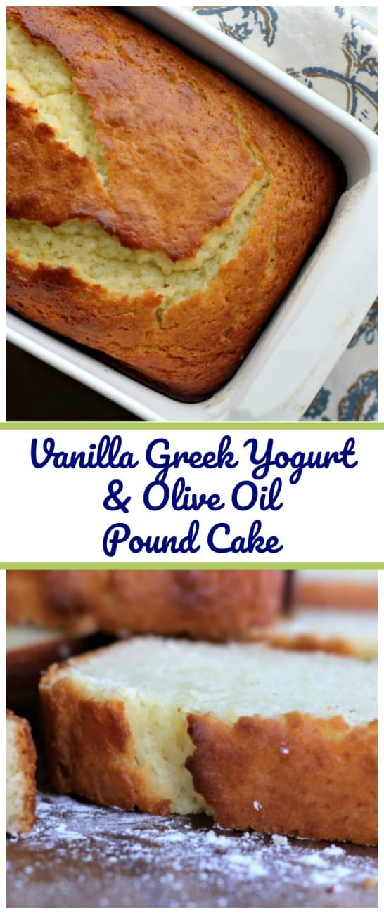 Vanilla Greek Yogurt & Olive Oil Pound Cake - Love pound cake? Would you like to indulge, but would like to find a healthier version? This is a winner! #vanilla #oliveoil #poundcake #cake #trifle #loaf