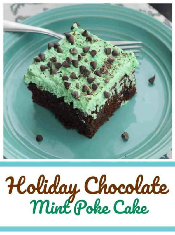 Holiday Chocolate Mint Poke Cake - We absolutely adore this Holiday Chocolate Mint Poke Cake! It's got a fluffy 'phat' layer ofmint green whipped topping on top of a luscious chocolate cake drenched with a sweetened condensed Andes Creme de Menthe fudge filling!  YUM! #mint #chocolate #mint chip #cake #poke cake #fudge #holidays #st patricks day