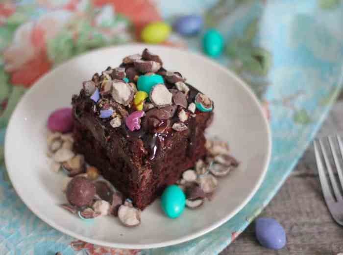 Chocolate Peanut Butter Malt Poke Cake