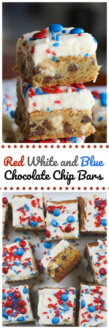 Red White and Blue Chocolate Chip Bars - - Red White and Blue Chocolate Chip Bars are these wonderful, chewy, buttery cookie bars that have just the right balance of vanilla milk chips and chocolate chips. A delicious layer of tempting vanilla buttercream and some high-spirited red, white and blue accessories to make it red, white and blue 'official'! #red white and blue #chocolate chip #bars #4th of july #desserts #buttercream