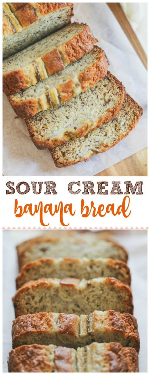 Sour Cream Banana Bread -  This moist, slightly tangy Sour Cream Banana Bread is super delicious on its own ortry slathering it with somebutter while the bread is still warm. It can't be beat for summer banana bread for snacking, picnics and ripe bananas!#banana #banana bread #dessert #baking #sour cream
