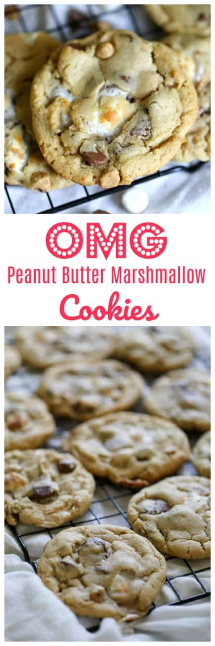 OMG Peanut Butter Marshmallow Cookies   Hello! Big, soft peanut butter cookies loaded with toast marshmallows, Reese's Peanut Butter Cups, rich milk chocolate and peanut butter chips! Trust me, these cookies are not going to last long!