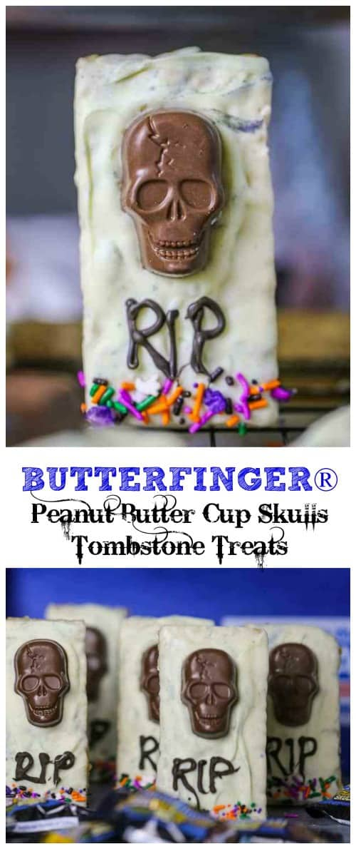 BUTTERFINGER® Peanut Butter Cup Skulls Tombstone Treats - One way to get the party started is with these haunting BUTTERFINGER® Peanut Butter Cup SkullsTombstone Treats!   @Nestle #butterfinger #candy #halloween #treats