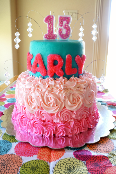 neon pink and teal birthday cake | The Baking Fairy