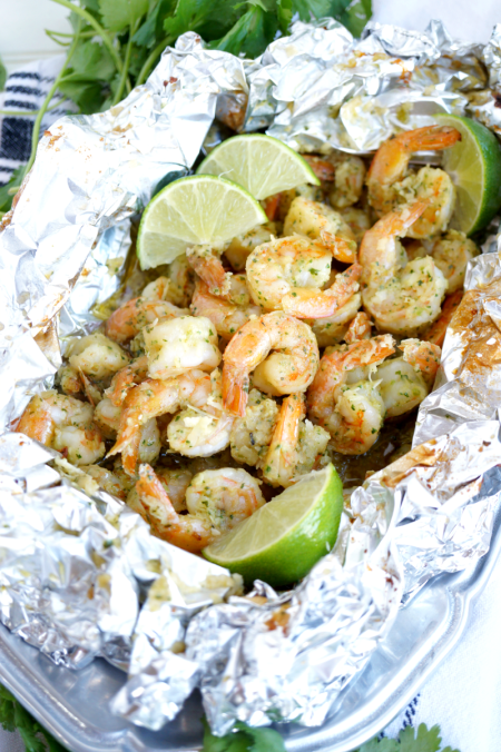coconut lime shrimp tin foil dinner | The Baking Fairy