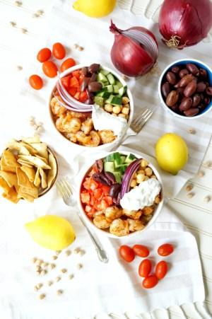 Greek grilled shrimp quinoa bowls   The Baking Fairy