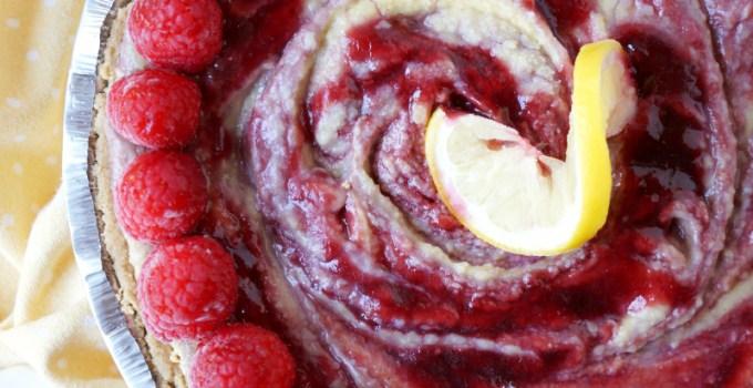 vegan lemon raspberry cheesecake pie