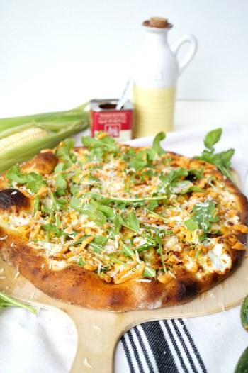 charred corn, zucchini, and arugula pizza | The Baking Fairy #FarmersMarketWeek