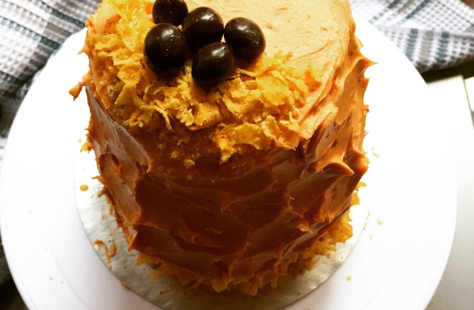 Banana Chocolate layer cake with peanut butter frosting