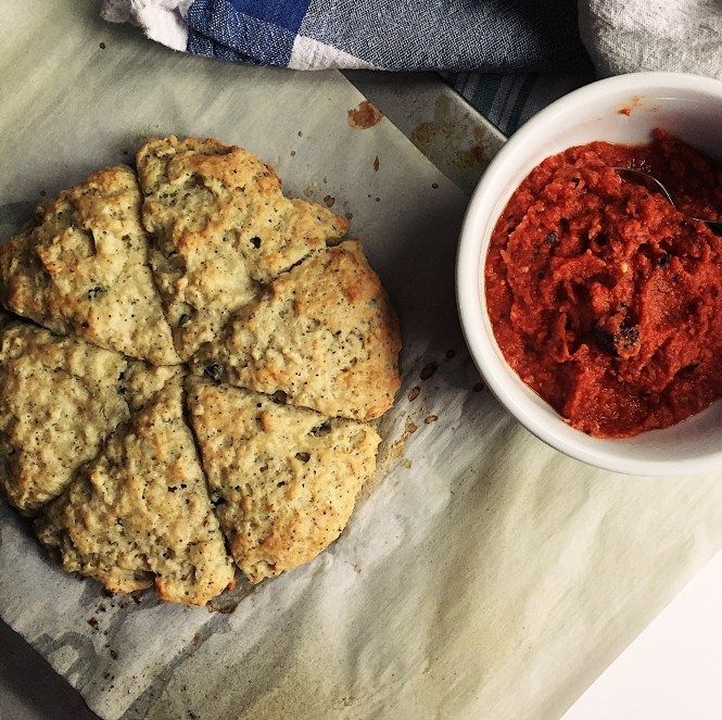 Curry Leaf Savory Scones with Tomato Coconut Chutney