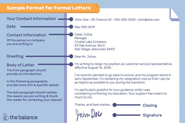 Sample Letter Format For Writing A