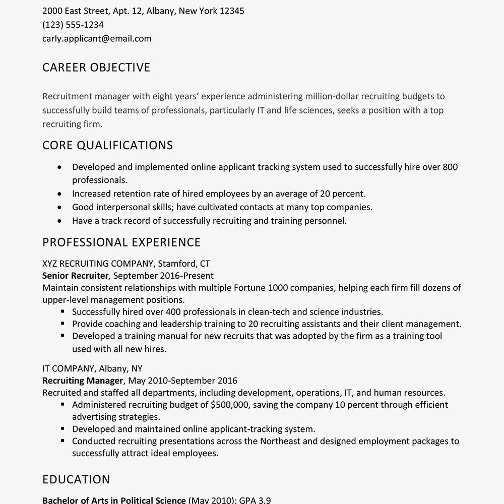Sample Cover Letter and Resume for a Recruiter