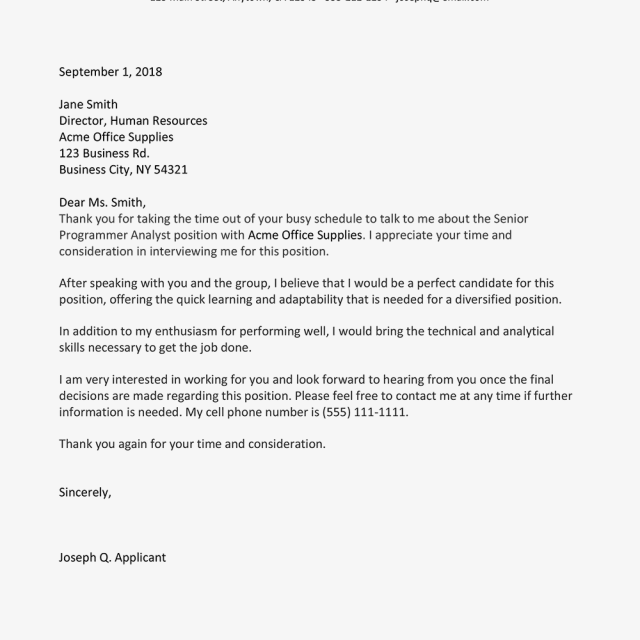 Interview Follow Up Email And Letter