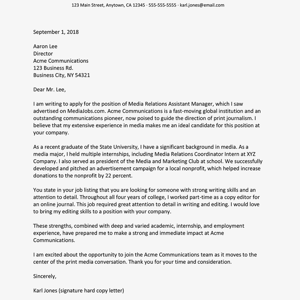 Sample Cover Letter For Recent College Graduate