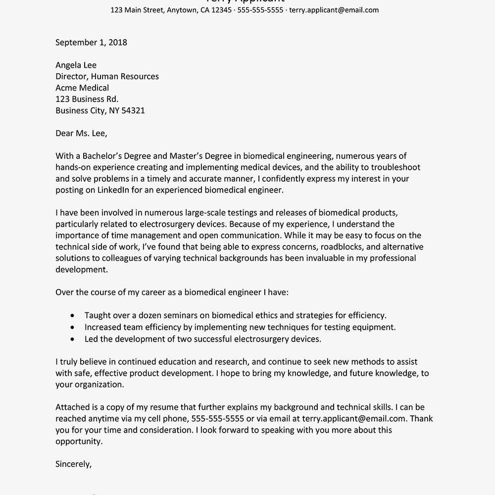 Biomedical Engineer Resume and Cover Letter Examples
