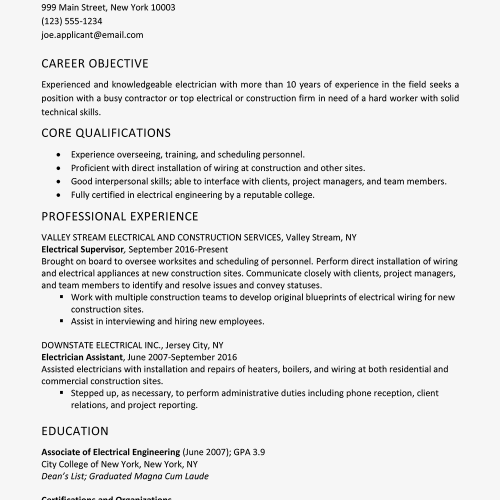 small resolution of screenshot of a sample electrician resume