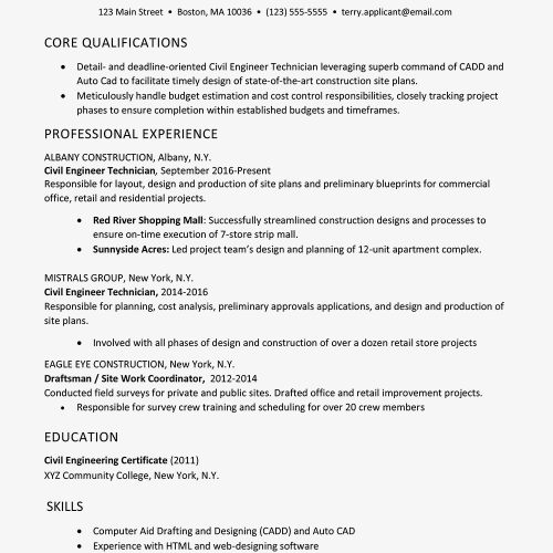 small resolution of screenshot of a sample resume for a construction job