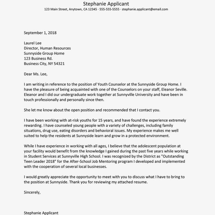 Cover Letter With A Referral From An Employee Example