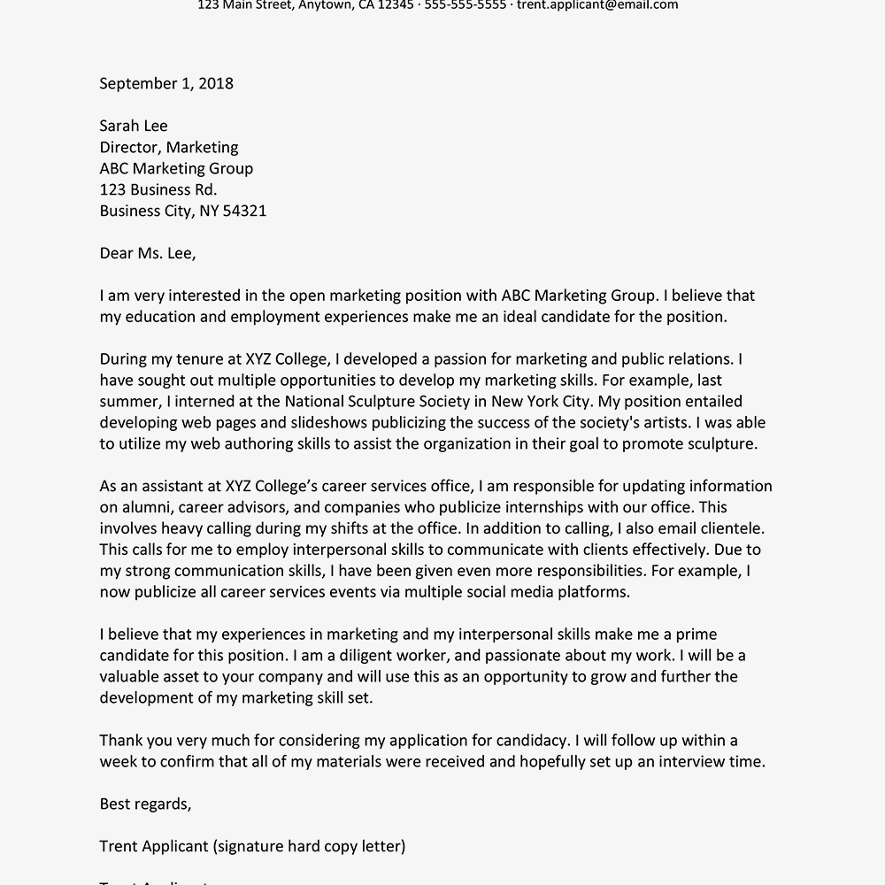 Entry Level Marketing Cover Letter Sample