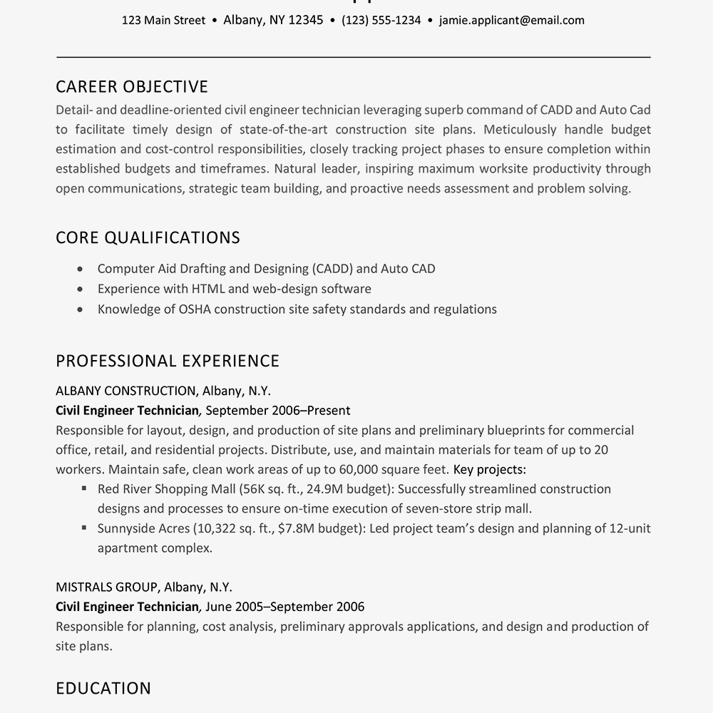 hight resolution of screenshot of a resume example for a construction job