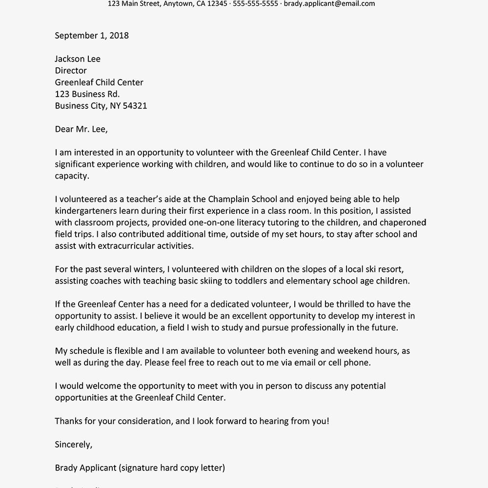 volunteers letters