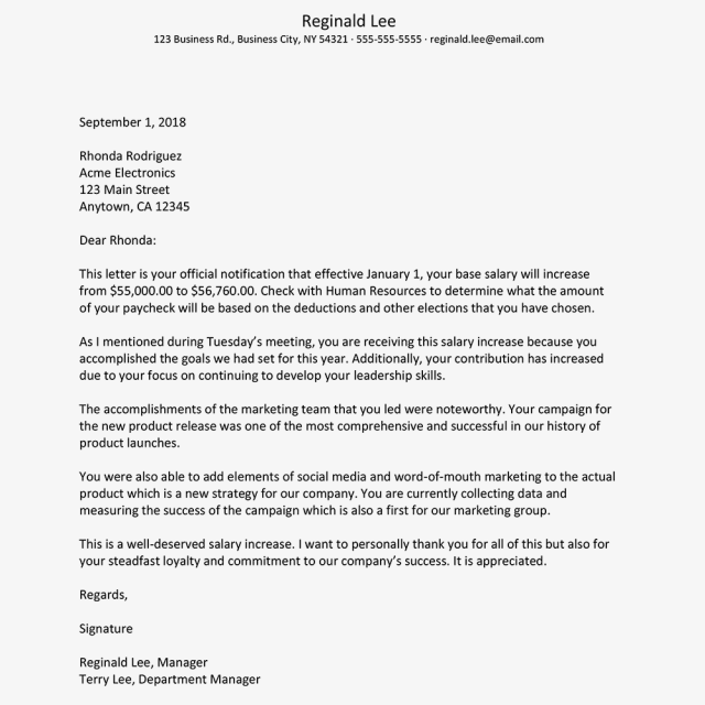 Salary Increase Letter Template for Employers to Use