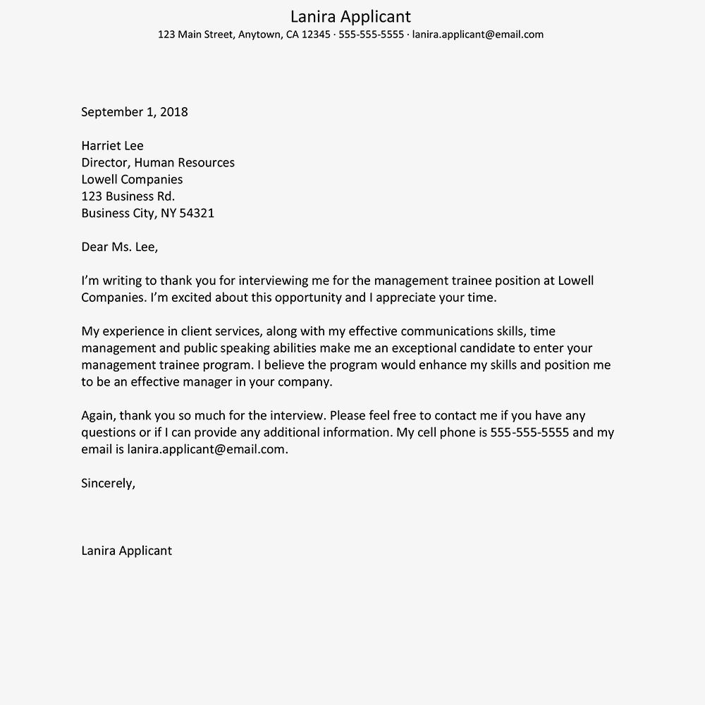 thank you for interview letter sample