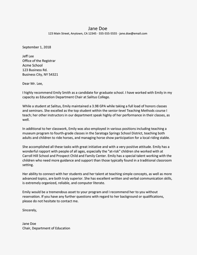 Strong Recommendation Letter For