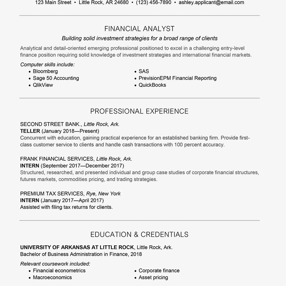 commodity research analyst sample resume