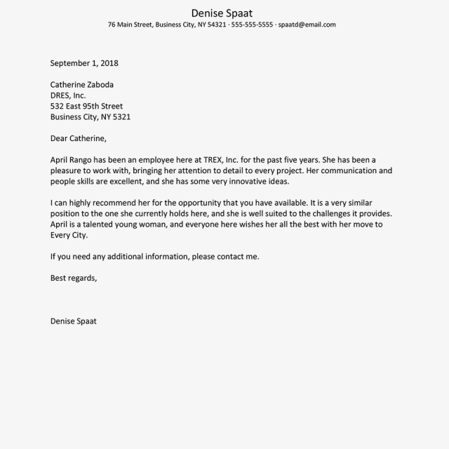 Professional Reference Letter Samples