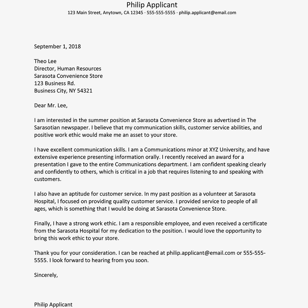 Summer Job Cover Letter Example