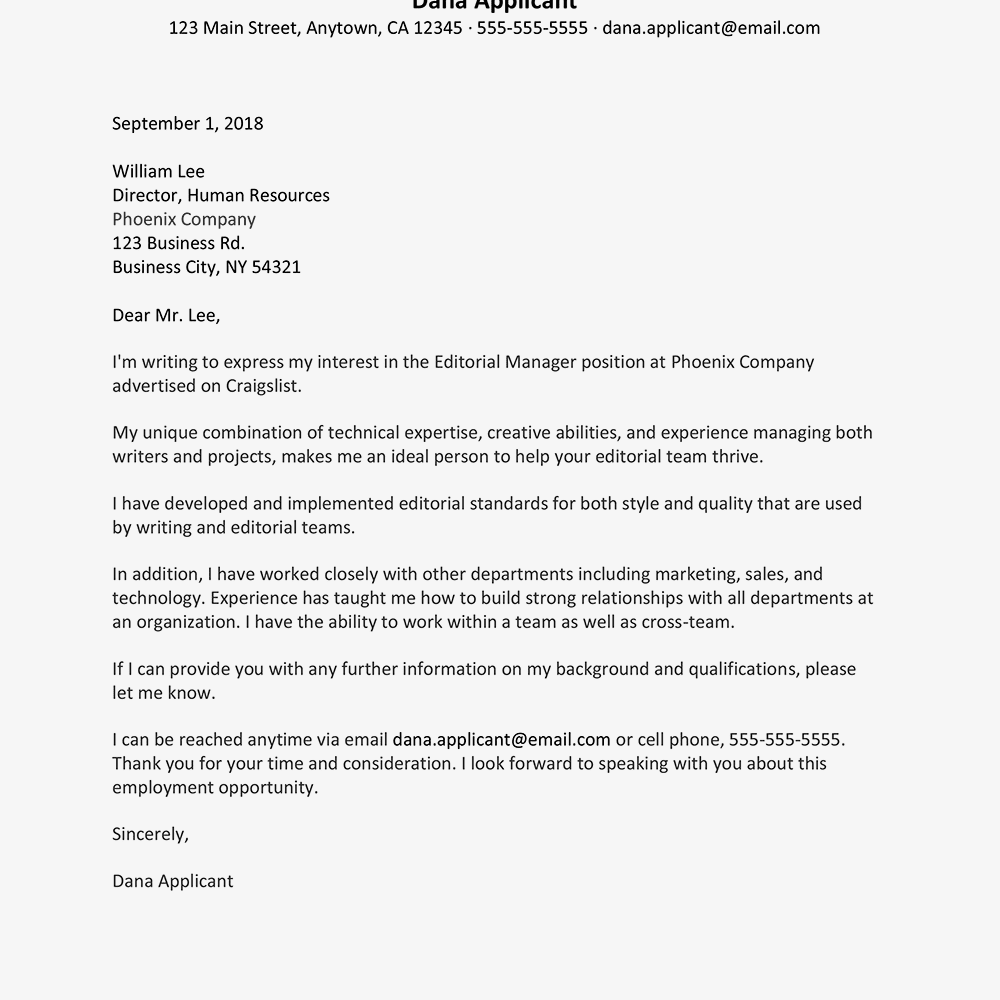 Sample Cover Letter And Resume For An Editor Job