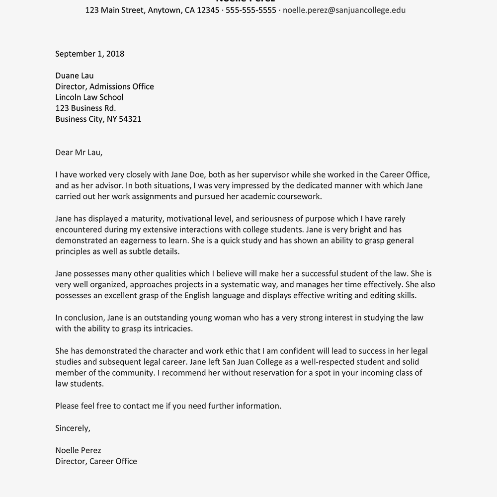 law school recommendation letter sample from employer