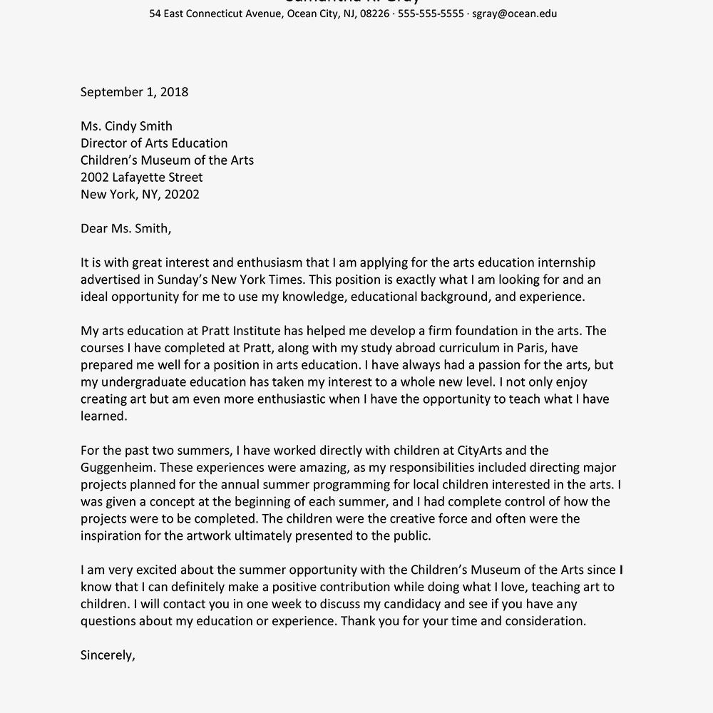art internship cover letters