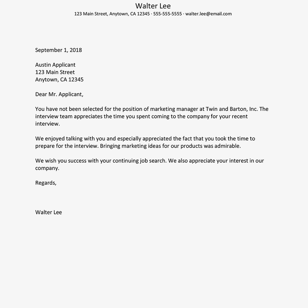 Rejection Letter Samples Sent After An Interview