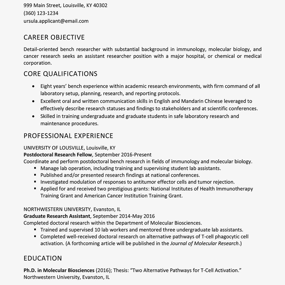 resume objective statement biologist