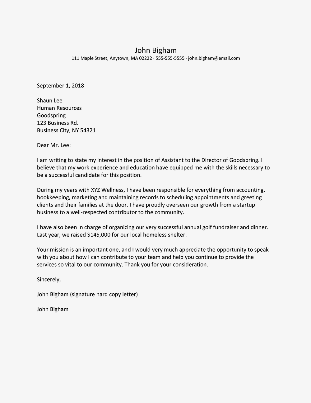 Copy Of A Cover Letter