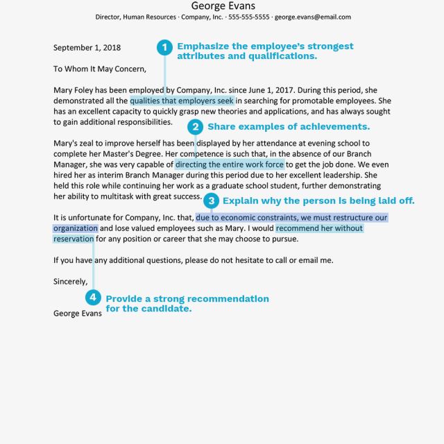 Reference Letter Sample Explaining A Layoff