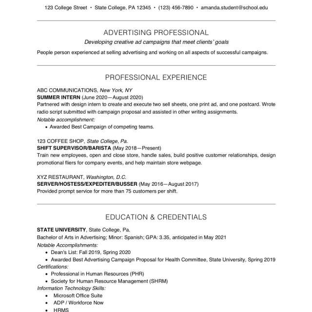 College Student Resume Example and Writing Tips