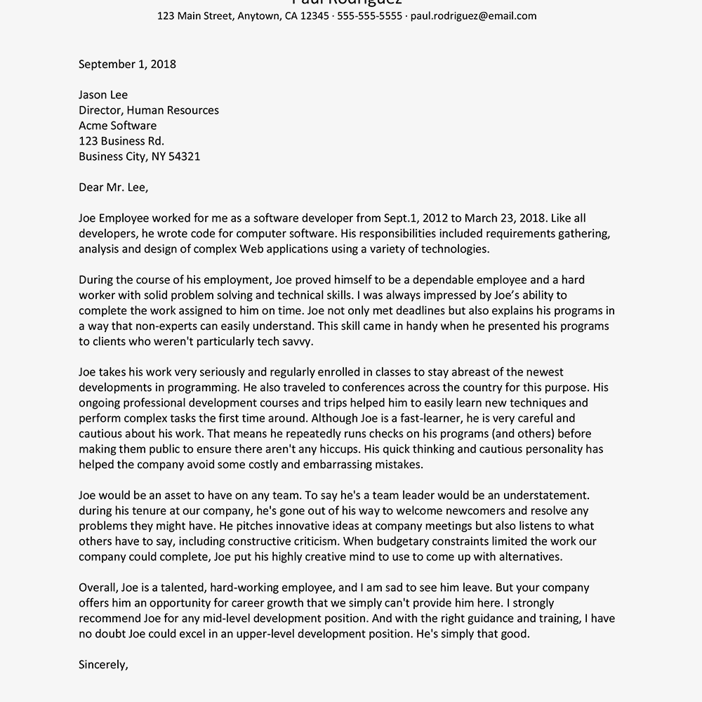 Writing a Software Developer Recommendation Letter
