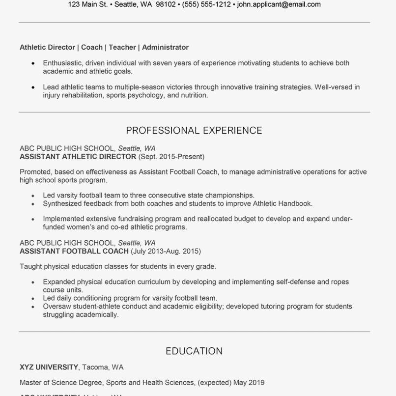 Athletic Director Cover Letter And Resume Examples