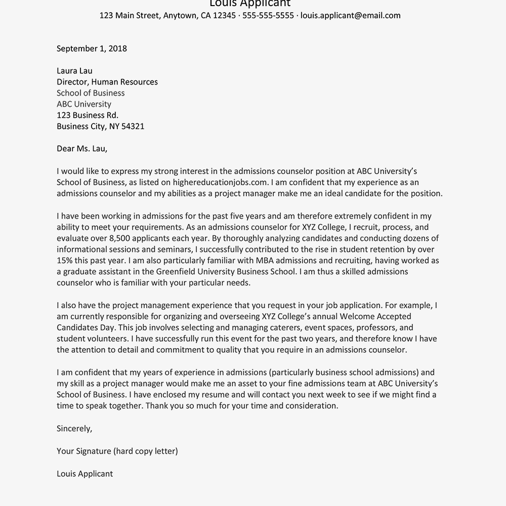 sample email for counselor job application with resume